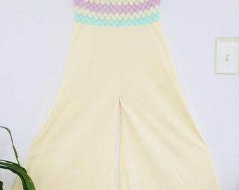 Perfect Springtime jumpsuit!  Fabulous, rare 1970s vintage, palazzo wide leg jumpsuit, with knit pastel rainbow bodice, Mad Men style