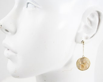 Vintage Gold Tone Drop Down Coil / Round / Circle Retro Pierced Earrings