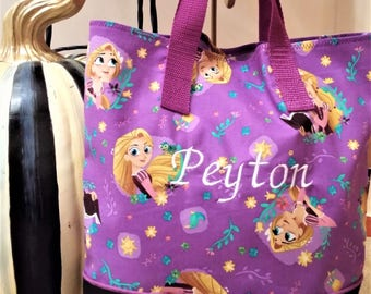 Tangled Rapunzel Child Tote / School Tote / Book Travel Bag / Overnight Bag / Embroidered with Childs name