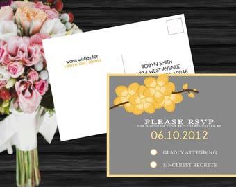 Orchid Branch Modern Wedding RSVP Postcard PRINTABLE / DIY