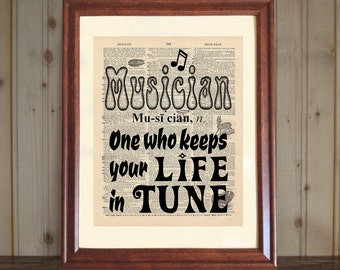 Musician Dictionary Print, Musician Saying, Musician Quote, Music Student Gift, Music Teacher Gift, Musician Print - 5x7 / 8x10 Canvas Panel