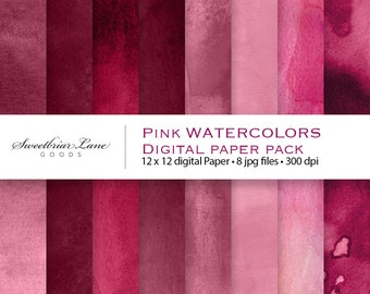 Pink Watercolors Digital ScrapbookPaper for instant download