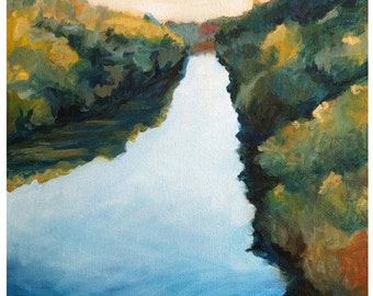 Calm River Landscape Painting Print of Original Painting water river art waterscape art