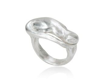 Salamander ring made of 925 sterling silver