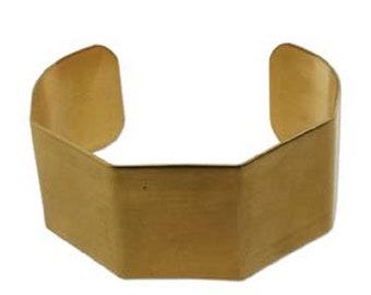 """Geometric brass cuff bracelet blank, 1"""" x 6"""""""