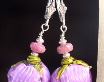 Lavender bell lampwork silver earrings