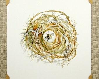 mini print bumblebee nest digital archival reproduction watercolor reprint nature art