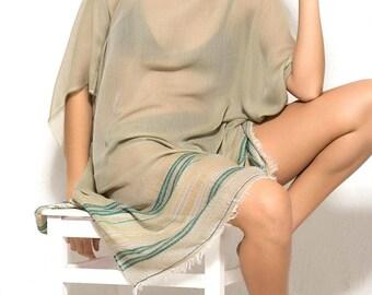 Women's Summer Tunic Beach Dress Bikini Cover up Robe Kaftan Poncho Light Grey