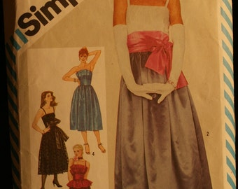 Simplicity 6211 Misses Evening Gown Special Occasion or Prom Dress Vintage Sewing Pattern Sz 12