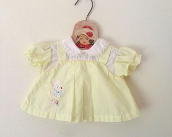 Vintage Bird Messenger Pale Yellow Dress (Size New Born)