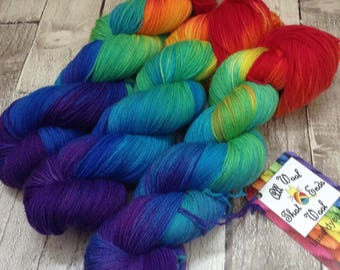 Hand dyed yarn sock/DK merino/nylon Superwash 'Return of the rainbow' wool /Uk indie dyer /knitting /crochet /sock weight