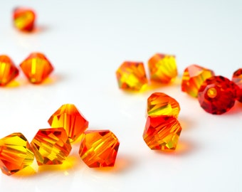 Fire Opal Bicone Crystal Beads