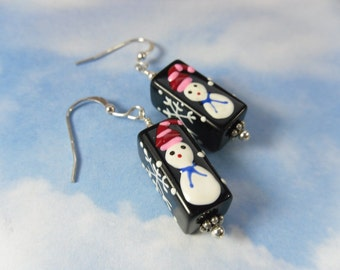 Snowmen & Snowflakes Earrings - black glass beads with silver accents - lovely for the holidays and Christmas -Free Shipping USA
