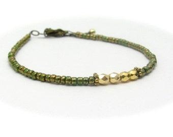 Green Friendship Bracelet, Friendship Bracelet, Seed Bead Bracelet, Gold Bead Bracelet, Tiny Minimal Bracelet, Gift for Her, stacking layer