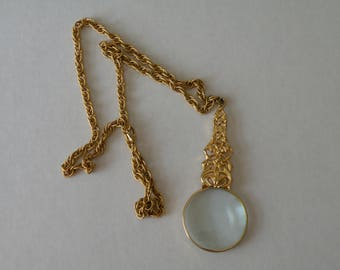 Vintage Accessocraft NY Lorgnette Magnifying Glass necklace pendant