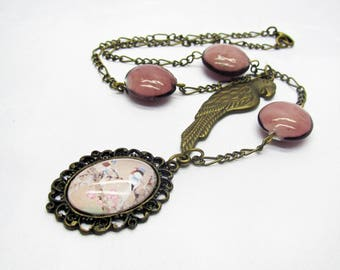 Vintage Locket necklace pink beads and bronze chain, romantic necklace, Locket bird necklace, women gift, gift idea