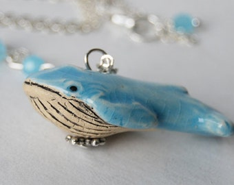 The Blue Whale Necklace | Cute Whale Charm Necklace | Ceramic Whale