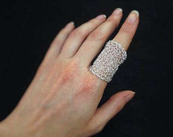 Wire crochet ring, statement silver plated wire mesh knuckle ring