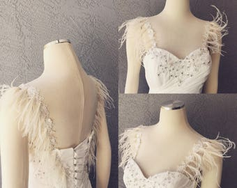 Detachable Ivory Beaded Lace Straps With Ostrich or Peacock Feathers to Add to your Wedding Dress it Can be Customize