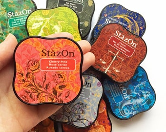 stazon midi ink pad | tsukineko rubber stamp ink pad | fast drying solvent dye ink | paper plastic metal coated surface | choose 1 color