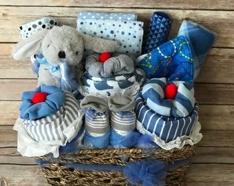 Baby shower gift basket etsy baby boy gift basket baby shower gift basket baby boy shower gift baby gift basket newborn negle Image collections