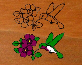 Personalized Wood Sign - Color upgrade graphic to colored Hummingbird Flower - Wooden Name Sign