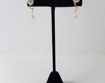 Earrings Clear Crystal & Filigree Posts