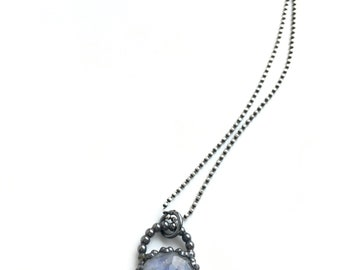 Rainbow moonstone necklace, dark silver necklace, filigree necklace, round moonstone pendant with sterling silver chain