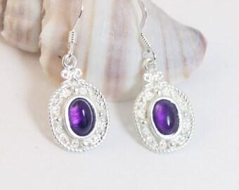 Amethyst Earrings, Dangle Earrings, Sterling Silver, Amethyst, Drop Earrings, Gemstone Earrings, Silver Earrings, Purple Earrings