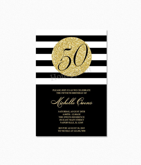 Gold 50th birthday party invitation black and white stripes filmwisefo Gallery
