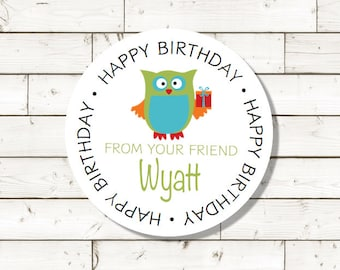 Happy Birthday sticker,  sheet of 20, custom- 2 inch circle, Owl sticker, white photo gloss label,  birthday present sticker, birthday label