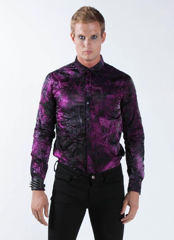 Men's Purple Dress Shirt Button Up Black Crinkle Satin