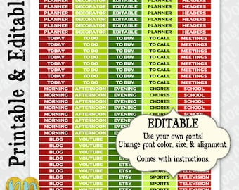 Printable Customizable Header Stickers, Christmas Header Stickers, Editable MDN Planner Stickers, Custom Header Sticker, INSTANT DOWNLOAD