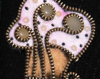 Muffin original designer zipper and felt handmade brooch.