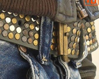 Genuine leather studded belt, Fashion belt, Metal studded belt