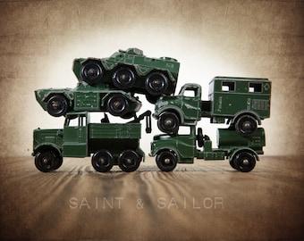 Vintage Matchbox Army Truck Pile, Photo Print, Boys Room decor, Boys Nursery Prints