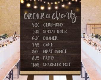 Printable large wedding signs, rustic wedding ideas, wedding ceremony sign, wedding day schedule, order of events wedding sign DIGITAL