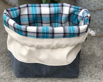 Natural Off White Duck & Graphite Waxed Canvas Knit Crochet Blue Black Plaid Cotton Flannel Drawstring Knitting Project Bucket Bag
