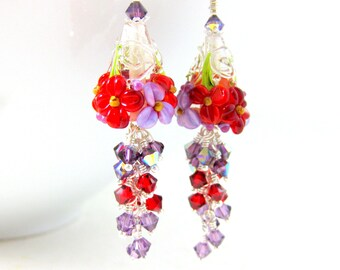 Red Purple Floral Dangle Earrings, Crystal Earrings, Cottage Chic Jewelry, Nature Earrings, Lampwork Earrings, Pretty Earrings - Briar