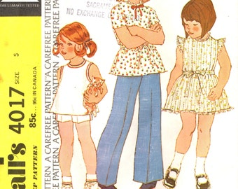 McCall's 4017 Size 5 Dress, Top, Pants 1970s VINTAGE ©1974
