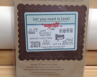 All You Need Is LOVE Unity Stamp Company SVG Cuts red rubber unmounted cling stamp set Unused