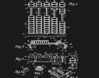 Abacus blueprint art etsy vintage patent blueprint abacus 1964 wall print home decor office study malvernweather Image collections