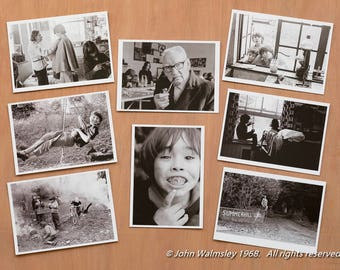 SUMMERHILL. Set of 8 high quality B&W postcards of A.S. Neill and his democratic school, Summerhill, 1968.