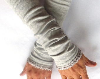 Arm warmers, fingerless gloves in grey lace top in grey