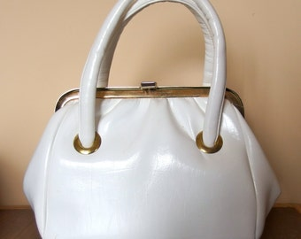 1960s 1970s White Vinyl Structured Purse Bag Two Handles