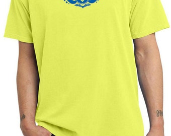 Yoga Clothing For You Mens Shirt Floral Ajna Pigment Dyed Tee T-Shirt = PC099-FLORALAJNA