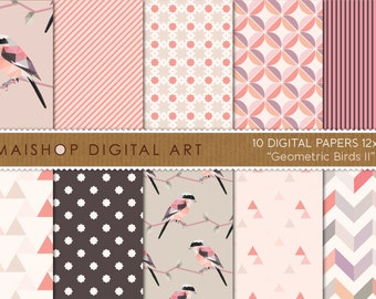 Digital Paper 'Geometric Birds II' Coral, Beige, Pink... Chevron, Curved Diamonds, Triangles, Stripes Patterns for Scrapbook, Cards...