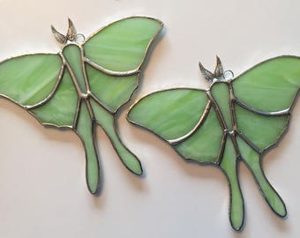 Handmade Stained Glass Luna Moth Suncatcher