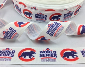 "1"" 25mm Chicago Cubs World Series Grosgrain Ribbon 5 yds DIY Hair Bow Crafts Scrapbooking"