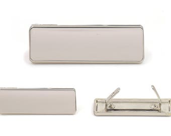 Blank Metal Name Tags Metal Labels Luggage Tags Studs Silver Tone B0305 5 pcs.